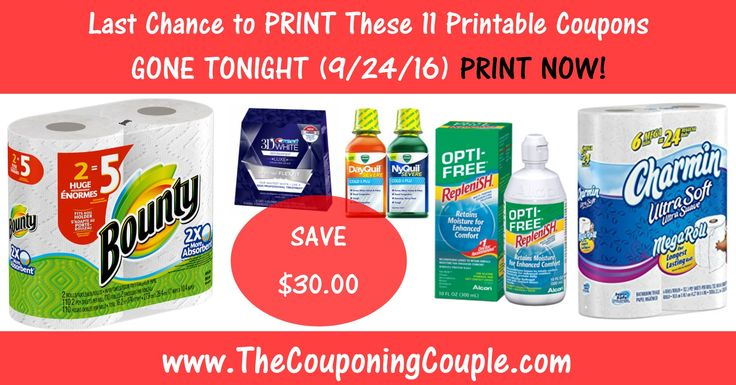 Today (9/24) is the Last Day to Print these 11 Coupons ~ Print Now! Bounty, Charmin, Crest and MORE! Don't miss out! Click the Picture below to get the Detailed List of Mobile Friendly Direct Links ► http://www.thecouponingcouple.com/last-chance-to-print-these-11-coupons-9-24-16/  Use the SHARE button below the Picture to SHARE this Deal with your Family and Friends!  #Coupons #Couponing #CouponCommunity  Visit us at http://www.thecouponingcouple.com for more great