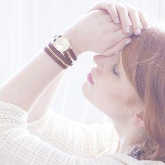 Montre bracelet double tour en cuir véritable Marron Chocolat et chaine dorée à l'or fin #watches #jewelry #fashion