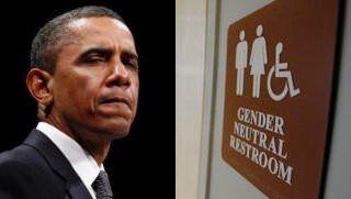 Barack Obama and transgender bathroom sign