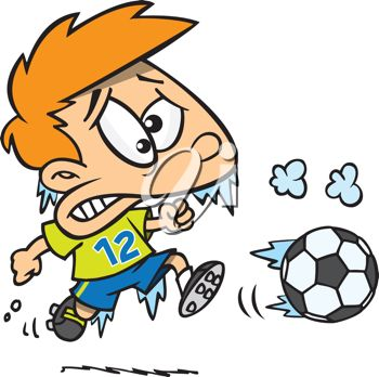 iCLIPART - Royalty Free Clipart Image of a Boy Playing Soccer in the Cold