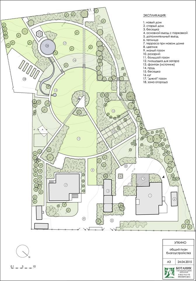 Strong circular and arcing theme organizes this garden as a dynamic space with varied lawns.