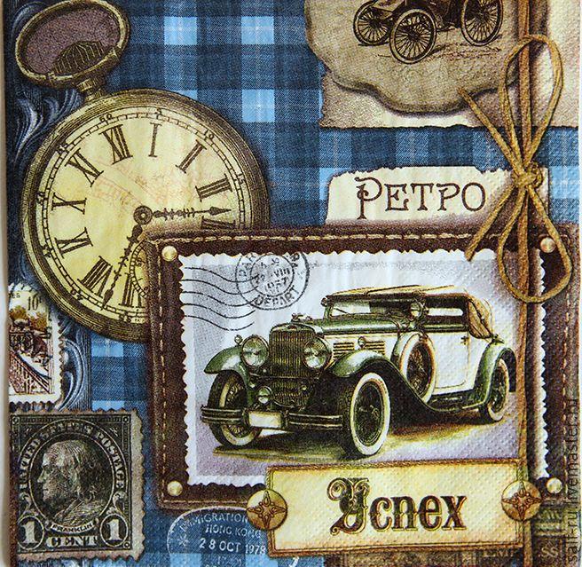 Купить Салфетка РЕТРО-АВТО - синий, сепия, Клеточка, автомобили, автомобили-ретро, ключ винтажный