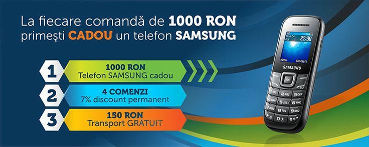 La fiecare comanda de peste 1000 lei, primesti cadou un telefon Samsung!
