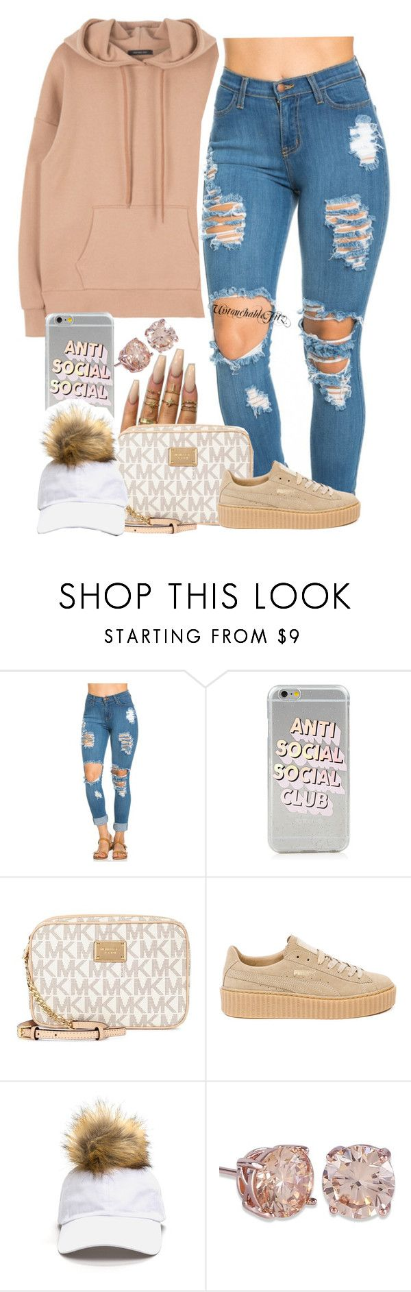 """""""K Camp - Touchdown"""" by renipooh ❤ liked on Polyvore featuring Floss Gloss, Michael Kors and Puma"""