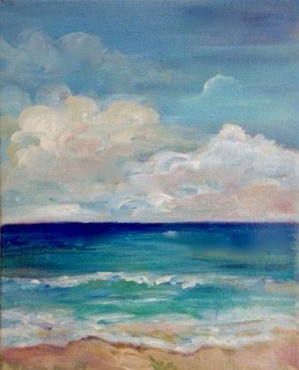 Ocean art. Nautical painting. Coastal decor. Caribbean painting. Sky painting. Original acrylic art. Small painting. Painting of the sea. by pinkwisteriadesigns on Etsy