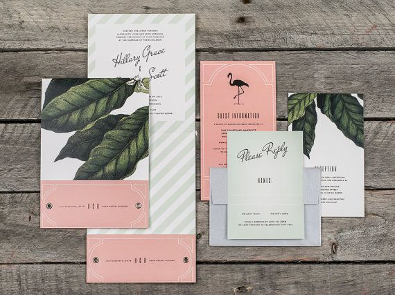 Tropical Glam Pocket Wedding Invitation Suite Sample by PaperSnaps