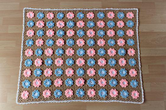 Crochet 3d Flower Baby Blanket Free Pattern : New Pattern ~ Crochet 3D Flower Baby Blanket Crochet ...