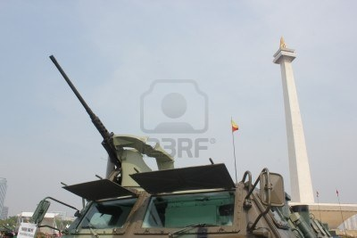 tank at the Indonesian Army primary weapons defense system's exhibition at the National Monument (Monas) area in Central Jakarta.