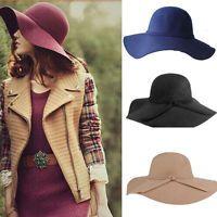 Women Ladies Fashion Floppy Wide Brim Wool Felt Bowler Beach Hat Summer Sun Cap
