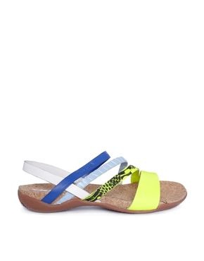 DKNY ACTIVE Sparrow Footbed Yellow/Blue Flat Sandals