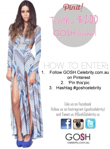 PIN ME FOR A CHANCE TO WIN A GOSH VOUCHER  How To Enter:  1. Follow Gosh Celebrity.com.au on Pinterest  2. 'Pin' this pic  3. Hashtag #goshcelebrity    #competition #giftvoucher #giveaway #fashion #shopping