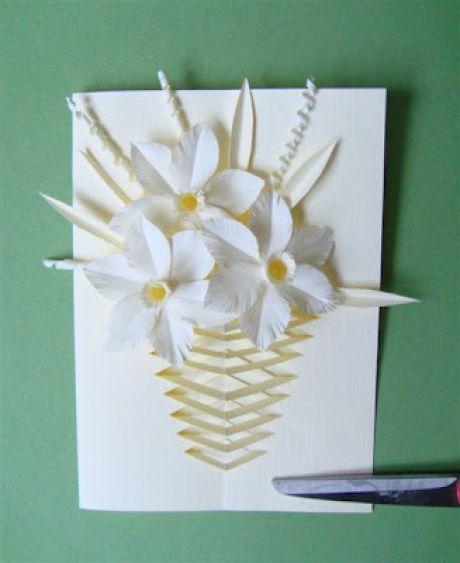 Открытка из бумаги вазу, свадьбу