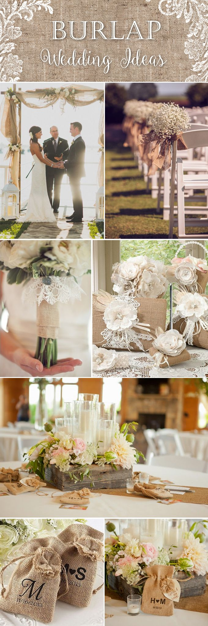 Burlap wedding decorations and ideas for the country, rustic, DIY, and casual-chic bride and groom. Find more burlap decor here: http://myweddingreceptionideas.com/burlap-decorations-accessories-favors.asp