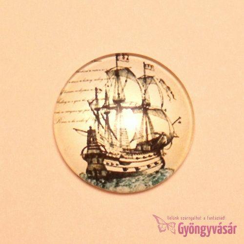 Vitorlás hajó mintás, 25 mm-es üveglencse
