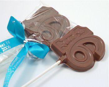 Personalized Milk Chocolate Sweet 16 Lollipops