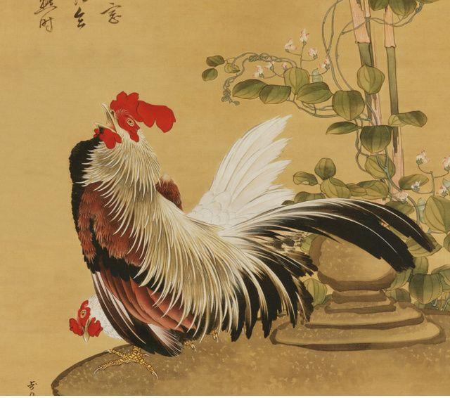 北斎の肉筆画新発見 色とりどりの「鶏竹図」:朝日新聞デジタル
