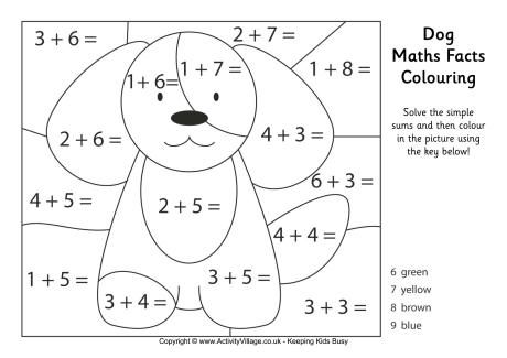 Dog maths facts colouring page free printable!