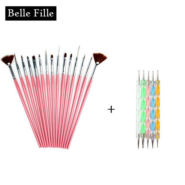 20pcs/set Professional Nail Salon Tool Kit Painting Pen Dotting Pen Pink Nail Brushes Manicure Tools UV Gel Nail Polish Drawing
