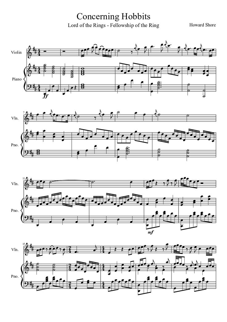 Lord of the Rings: Concerning Hobbits (Violin and Piano) | MuseScore.com
