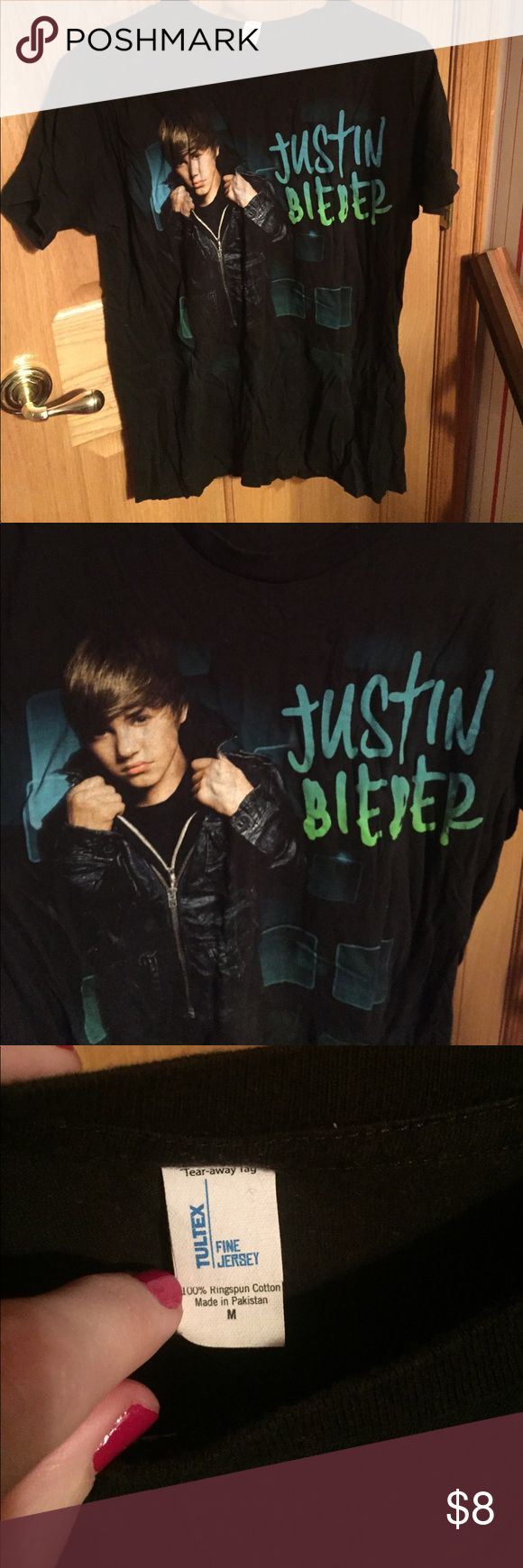 Justin Bieber tee Got at a Justin Bieber concert awhile ago. Only worn twice. Size medium Tops Tees - Short Sleeve