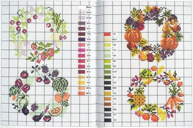 "MANGO DMC ""Fruits et Legumes"" - Botanical wreath in cross stitch"