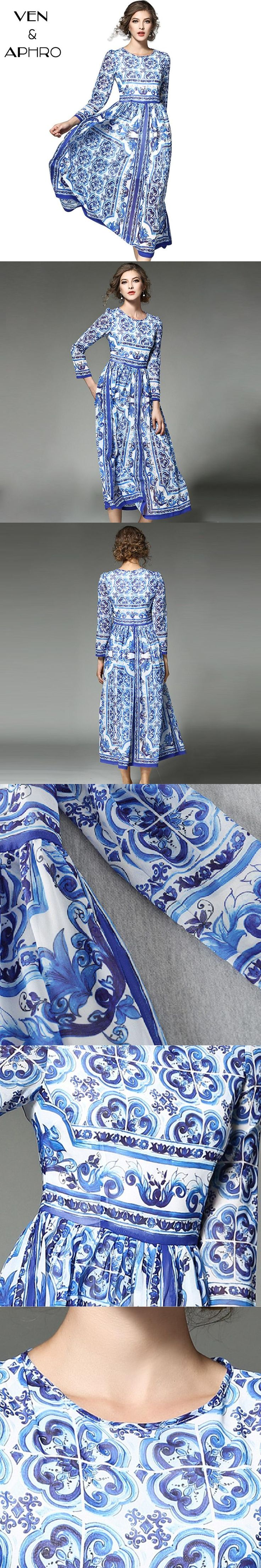 VA 2017 Women Maxi Dress Long Porcelain Print Dress Plus Size Silk Elegant Fashion Beach Bohemian Dresses vestidos W00850