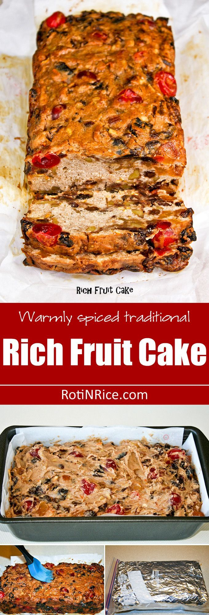 Warmly spiced traditional Rich Fruit Cake studded with dried fruits and nuts. Layers of brandy and sherry keep it moist and flavorful. | http://RotiNRice.com