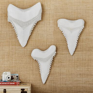 Paper Mache Shark Teeth, Set of 3, White