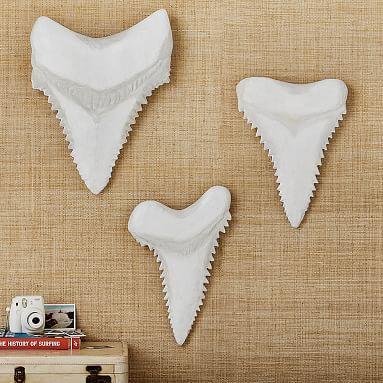 Paper Mache Shark Teeth, Set of 3, White