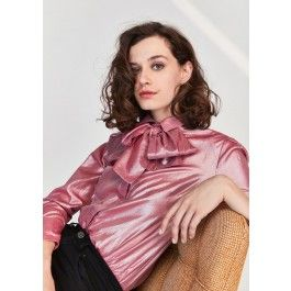 Chemise rose pailletée avec nœud  @ TARA JARMON
