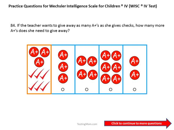 Practice questions for the WICS IV: First grade to Second Grade