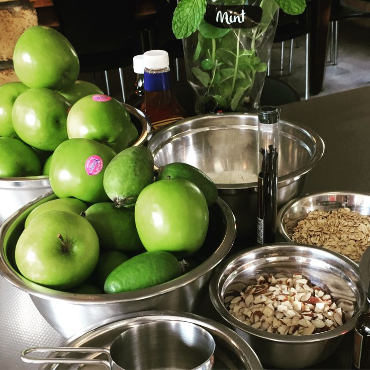 Apple Feijoa crumble in the making #freshingredients #applecrumble #crumble #homemade #dessert #food #foodie #kitchenswithoutboundaries #nourishingrelationshipsthroughfood