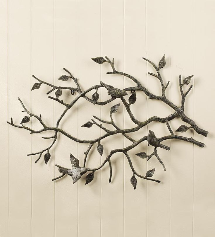 Indoor/Outdoor Cast Iron Bird Branch Wall Art | Metal Wall Art - Three little birds and graceful leaves add depth and realism for a peaceful, picturesque display in any room. Cast iron with a handsome dark bronze powder coating for use indoors or out.