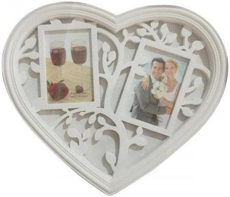 Fali fényképtartó, szív alakú, 2 db fénykép számára, képkeret