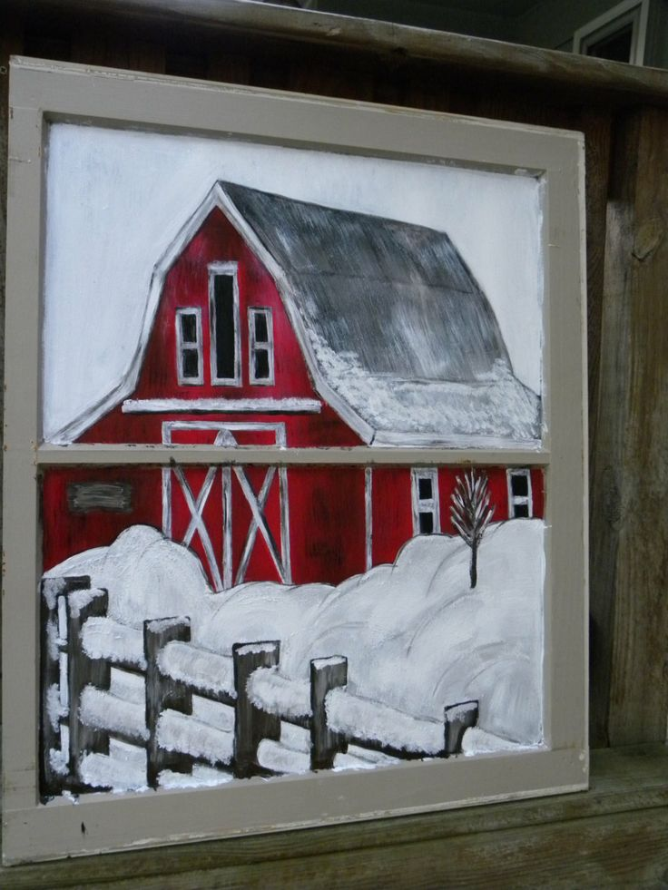 Hand Painted Window Art Holiday Decoration Barn by HuddyCreations