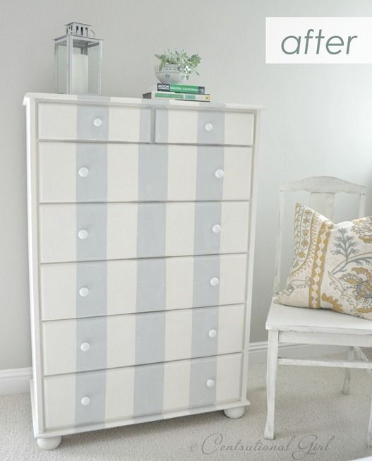 Refashion Tutorial | Gray Striped Dresser  You should have seen what it looked like before!  Materials: chalk paint + painter's tape