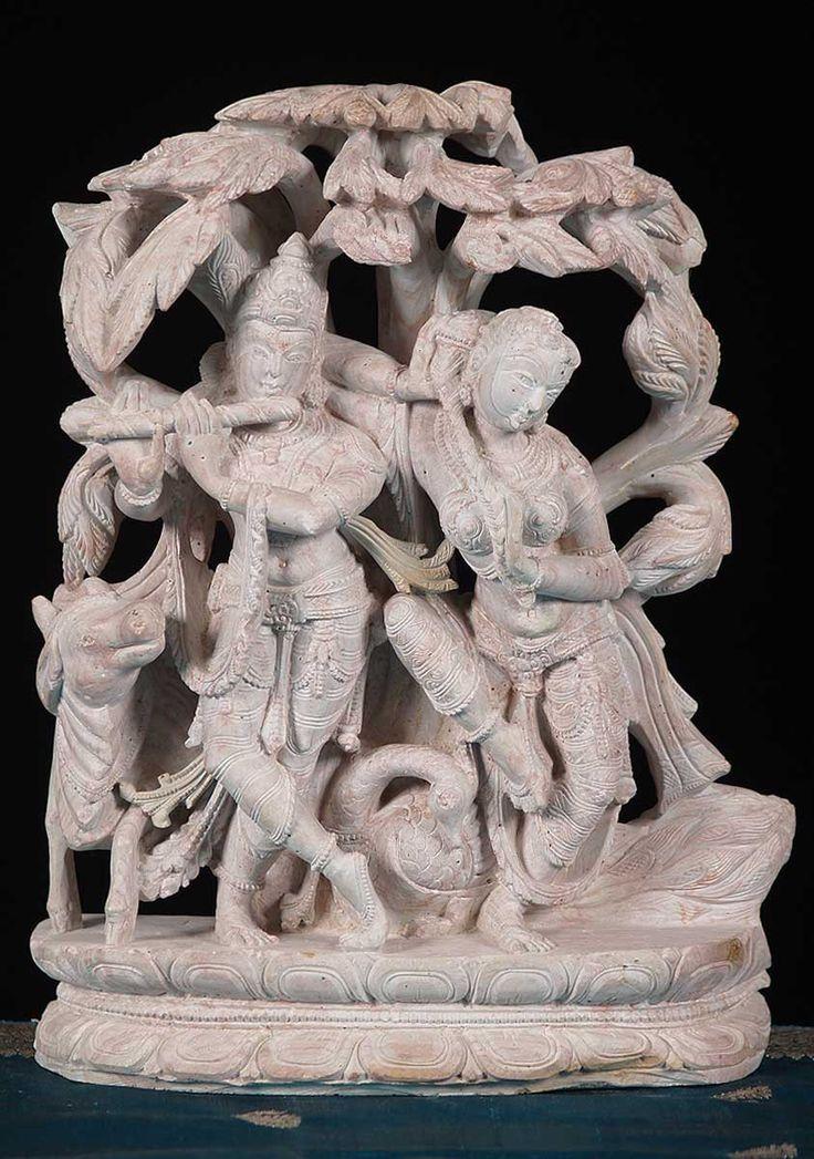 View the Pink Marble Radha Krishna Statue 11