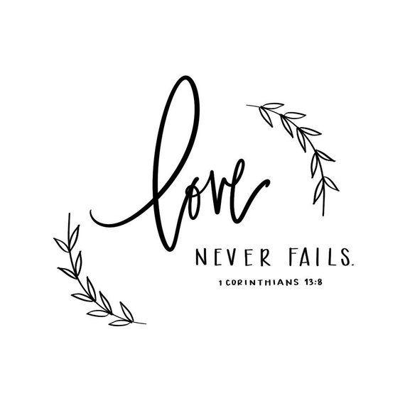 Hand lettered Digital Print – Bible Verse 1 Corinthians 13:8 – Downloadable – Love Never Fails Print – Bridal Shower, Wedding, Home Decor