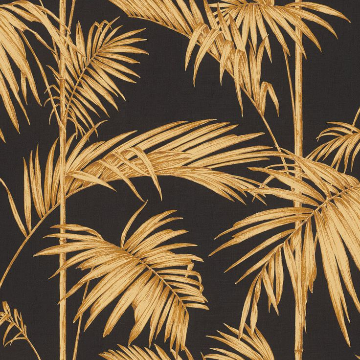 A stylish bamboo leaf wallpaper design in black/gold from