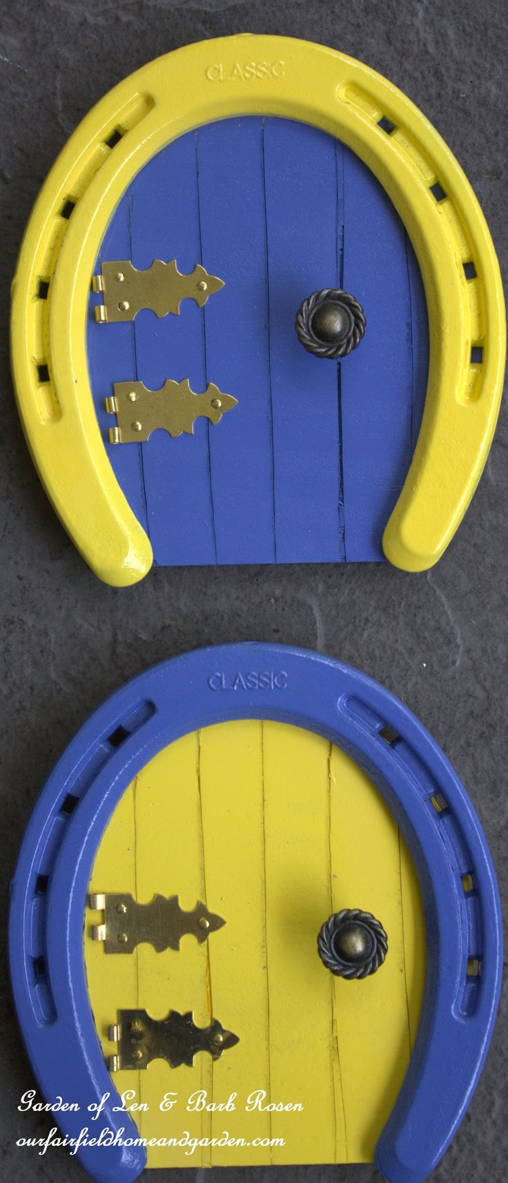 Colorful Horseshoe Fairy Doors ~ great for a fairy garden or on the baseboard in a little one's room! Easy DIY! http://ourfairfieldhomeandgarden.com/diy-horseshoe-fairy-door/