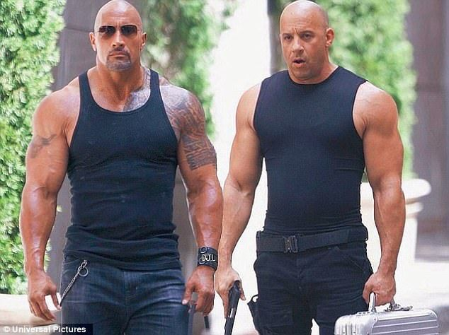 Forces collide: Vin Diesel, 49, (R) told USA Today Saturday that he and Dwayne Johnson (L) are 'in a weird way' close, amid multiple reports of problems between the powerful stars during the filming ofThe Fate of the Furious