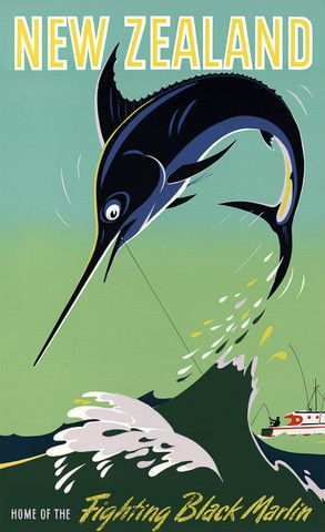 New Zealand. Home of the Fighting Black Marlin. This vintage New Zealand travel poster shows a fisherman on a boat struggling to reel in a black marlin. New Zealand, 1954.