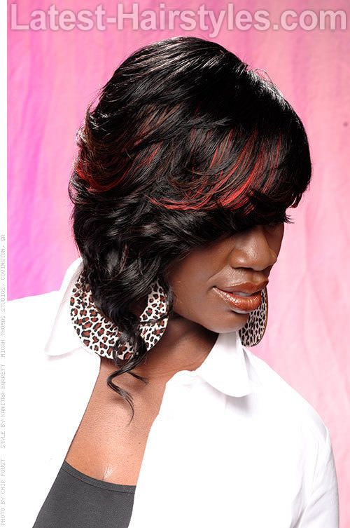 Red Highlights Asymmetrical Bob | Places to Visit ...