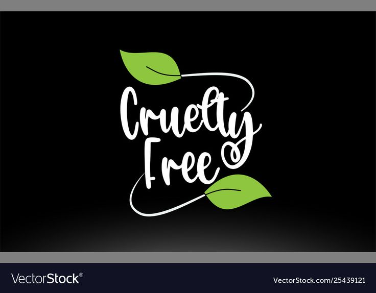 Cruelty free word text with green leaf logo icon Vector