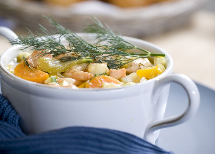 salmon and potato chowder   made with prawns, perfect to use up any leftover veggies like celery, potatoes and zucchini