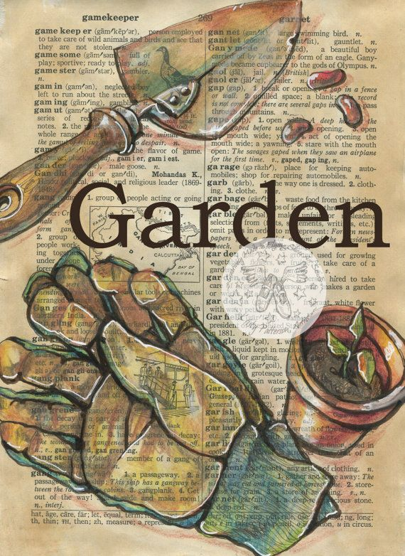 PRINT:  Garden Mixed Media Drawing on Antique Dictionary by flyingshoes