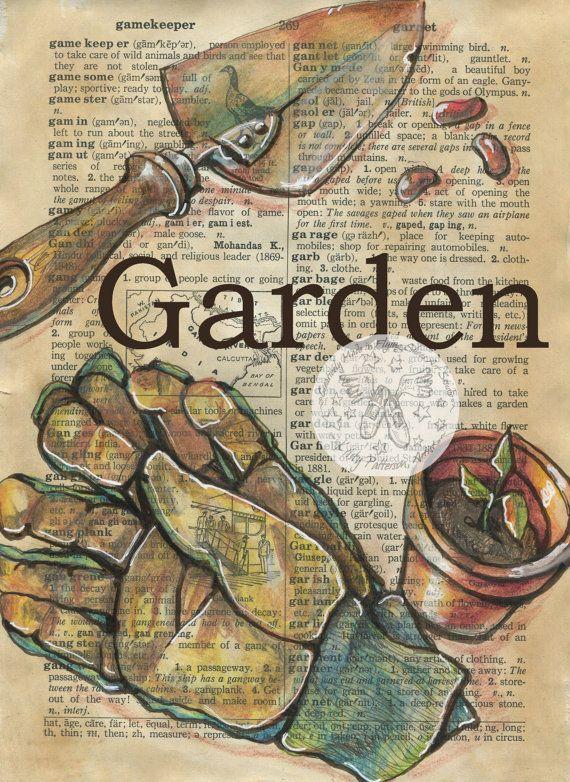 Druck: Garten Mischtechnik Zeichnung auf antike W…