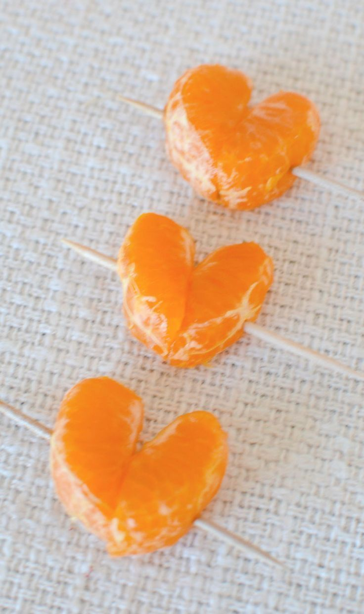 Easy. Make Mandarin oranges look like hearts on a toothpick. Great idea for a valentine breakfast surprise.