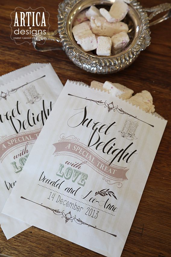 Stationery we did for SA Weddings Styled shoot. - for the sweety table