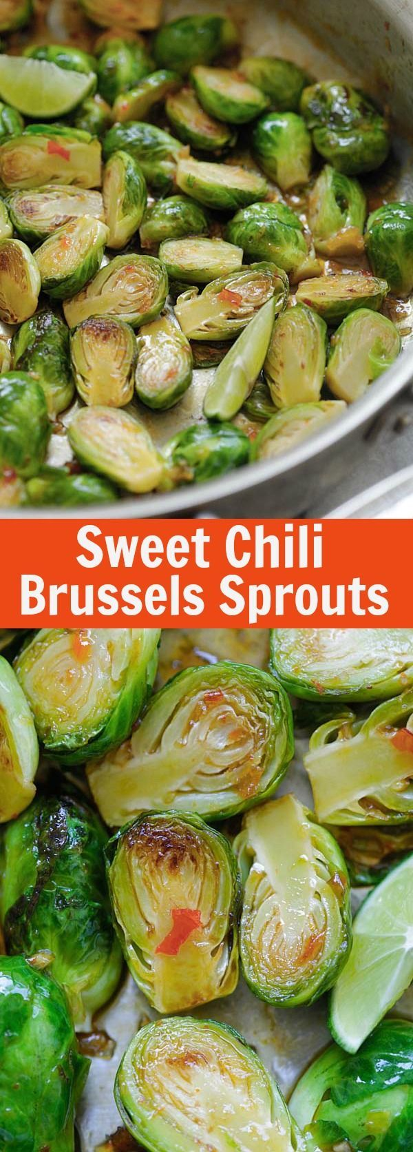 Sweet Chili Brussels Sprouts – easy and delicious sauteed brussels sprouts with Thai sweet chili sauce. Takes 15 mins to make | http://rasamalaysia.com